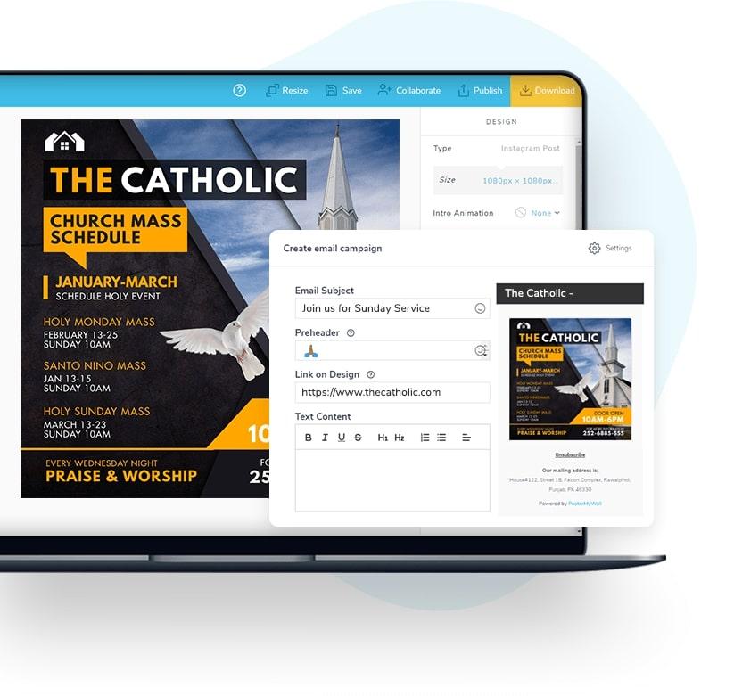 Envie campanhas de e-mail com os seus designs